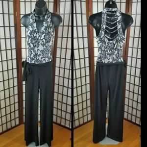 CACHÉ Cut Out Back Tie Waist JUMPSUIT